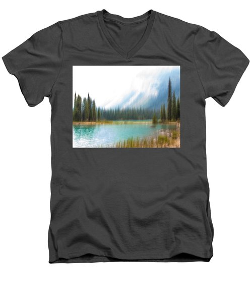 Blue Lake Men's V-Neck T-Shirt by Catherine Alfidi