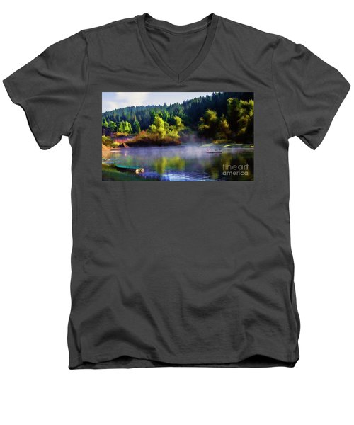 Blue Lake Spring Misty Geese  Men's V-Neck T-Shirt