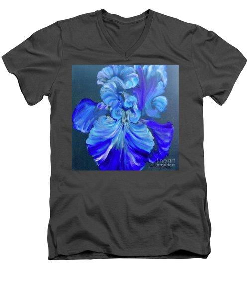 Blue/lavender Iris Men's V-Neck T-Shirt
