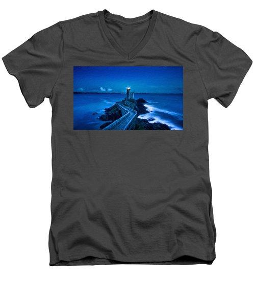 Blue Lighthouse Men's V-Neck T-Shirt