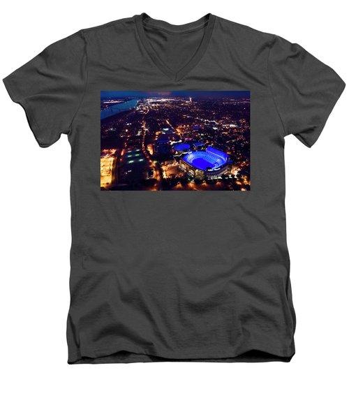 Blue Lsu Tiger Stadium Men's V-Neck T-Shirt by Andy Crawford
