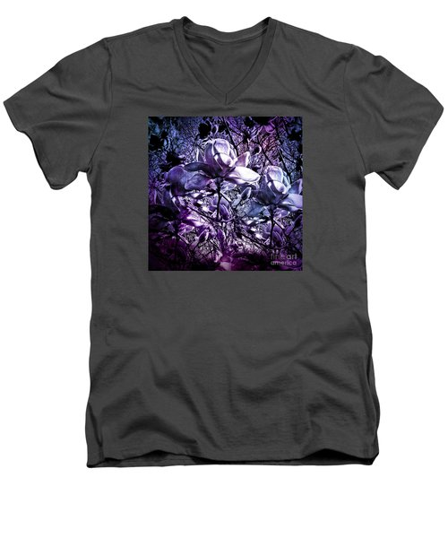 Blue Magnolias Men's V-Neck T-Shirt by Karen Lewis