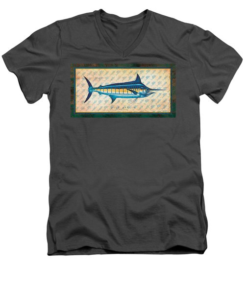Men's V-Neck T-Shirt featuring the painting Blue Marlin by Jon Q Wright