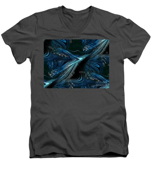 Men's V-Neck T-Shirt featuring the digital art Blue Meditation by Yul Olaivar