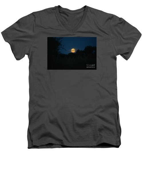 Men's V-Neck T-Shirt featuring the photograph Blue Moon 2015 by Mark McReynolds