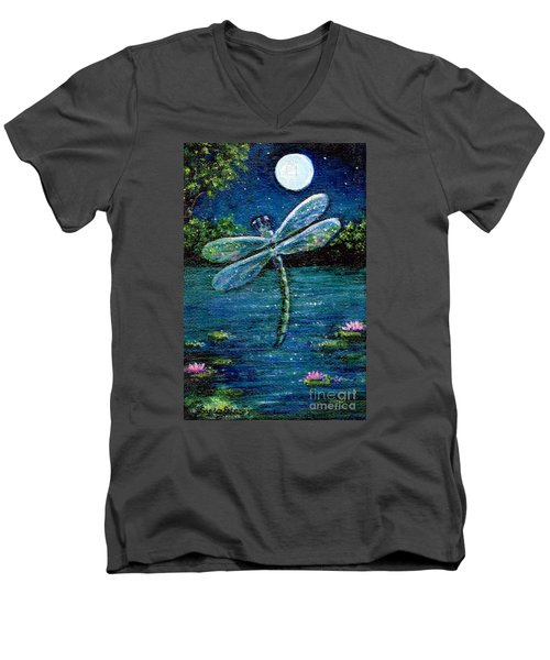 Blue Moon Dragonfly Men's V-Neck T-Shirt by Sandra Estes