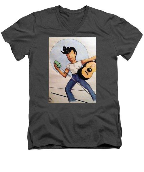 Blue Moon Men's V-Neck T-Shirt by Loretta Nash