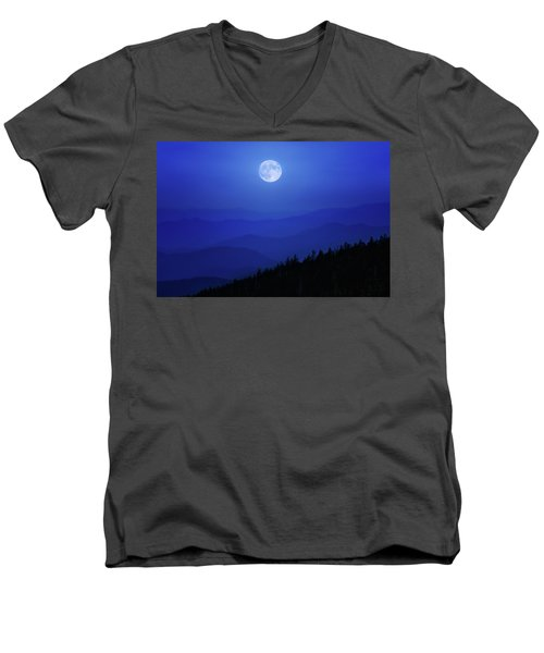 Blue Moon Over Smoky Mountains Men's V-Neck T-Shirt