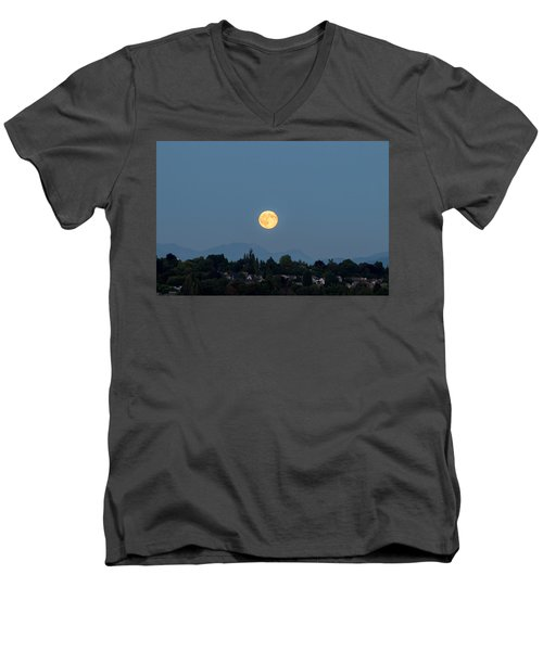 Blue Moon.3 Men's V-Neck T-Shirt by E Faithe Lester