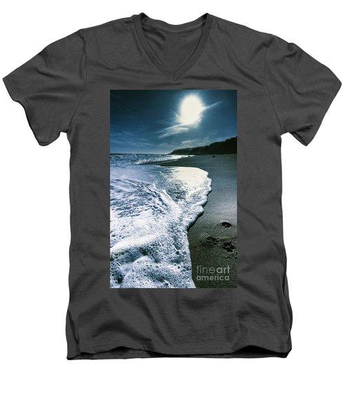 Men's V-Neck T-Shirt featuring the photograph Blue Moonlight Beach Landscape by Jorgo Photography - Wall Art Gallery