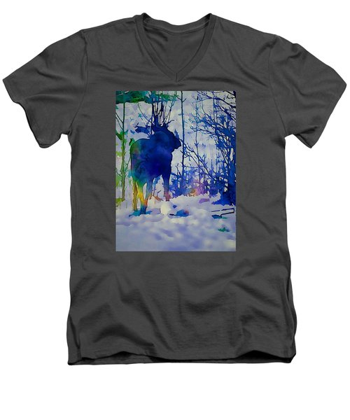 Blue Moose Men's V-Neck T-Shirt by Jan Amiss Photography