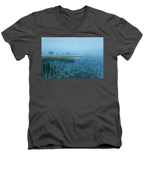 Men's V-Neck T-Shirt featuring the photograph Blue Morning Flash by Jorge Maia