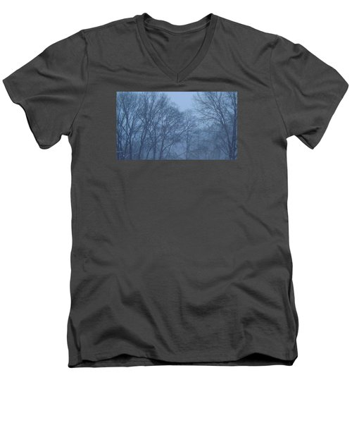 Men's V-Neck T-Shirt featuring the photograph Blue Morning Mist by Don Koester