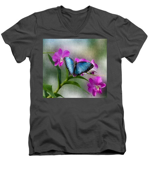Blue Morpho With Orchids Men's V-Neck T-Shirt