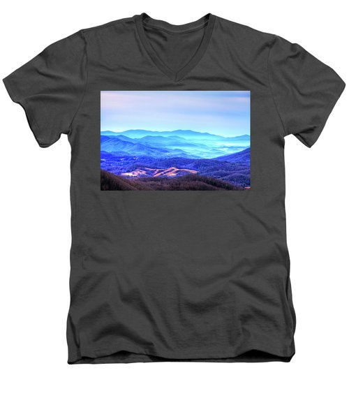 Blue Mountain Mist Men's V-Neck T-Shirt by Dale R Carlson