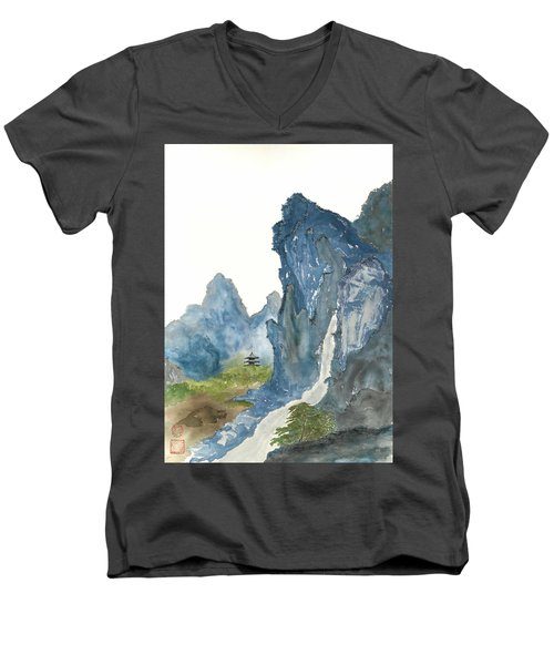 Blue Mountain Morning Men's V-Neck T-Shirt