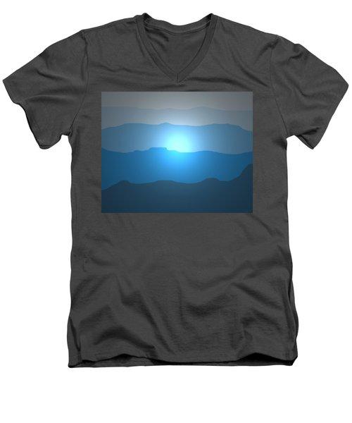 Blue Mountain Sun Men's V-Neck T-Shirt by David Stasiak