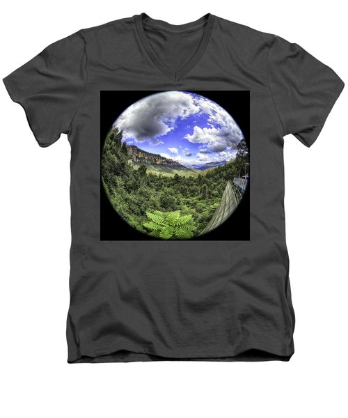 Blue Mountains Fisheye Men's V-Neck T-Shirt