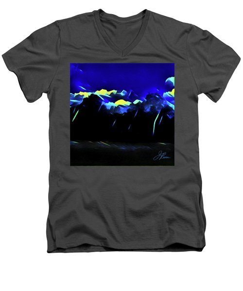 Men's V-Neck T-Shirt featuring the painting Blue Mountains by Joan Reese