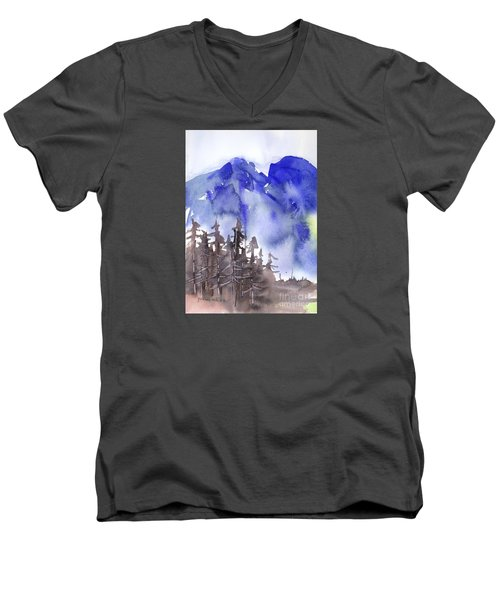 Men's V-Neck T-Shirt featuring the painting Blue Mountains by Yolanda Koh
