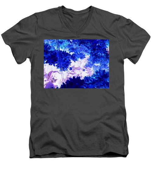 Blue Mums And Water Men's V-Neck T-Shirt