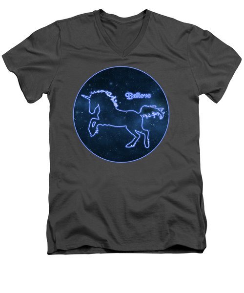 Blue Neon Light Unicorn Text Believe Men's V-Neck T-Shirt