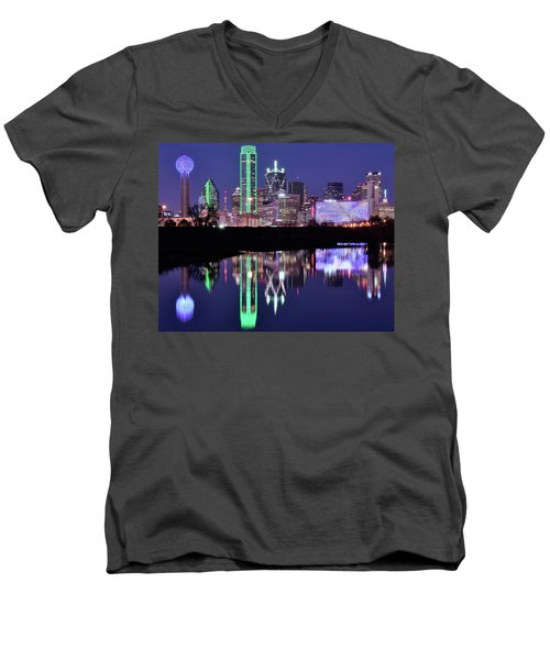 Men's V-Neck T-Shirt featuring the photograph Blue Night And Reflections In Dallas by Frozen in Time Fine Art Photography