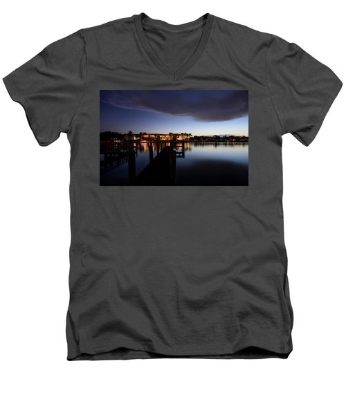 Men's V-Neck T-Shirt featuring the photograph Blue Night by Laura Fasulo