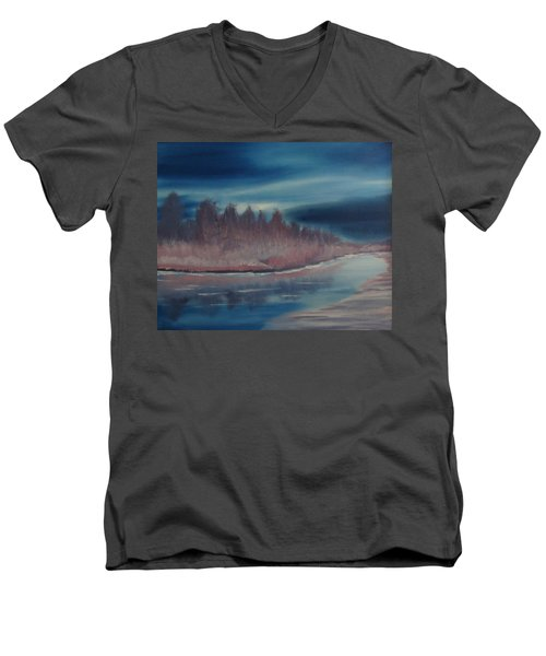 Men's V-Neck T-Shirt featuring the painting Blue Nightfall Evening by Rod Jellison
