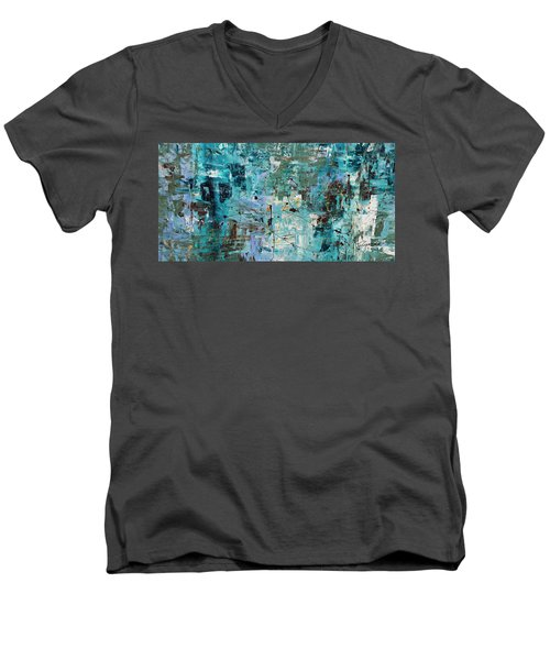 Men's V-Neck T-Shirt featuring the painting Blue Ocean - Abstract Art by Carmen Guedez