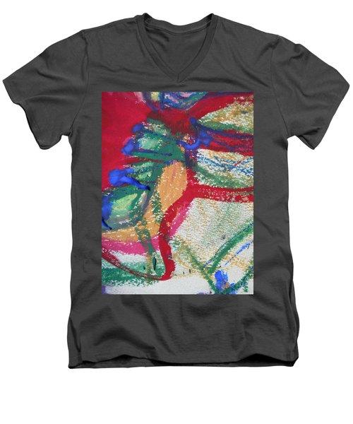 Blue On Red Men's V-Neck T-Shirt
