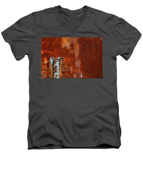 Men's V-Neck T-Shirt featuring the photograph Blue On Rust by Karol Livote