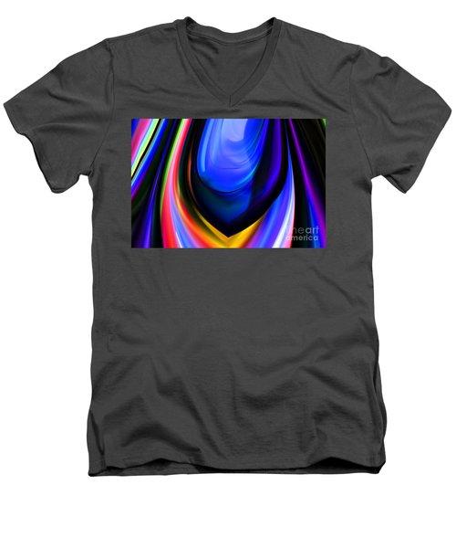 Blue Orb Men's V-Neck T-Shirt by Elaine Hunter