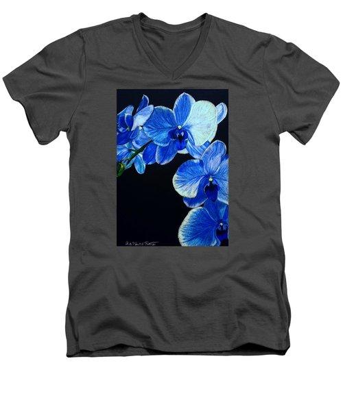 Blue Orchid - Electric-blue Phalaenopsis Men's V-Neck T-Shirt by Anita Putman