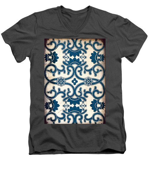 Blue Oriental Vintage Tile 02 Men's V-Neck T-Shirt