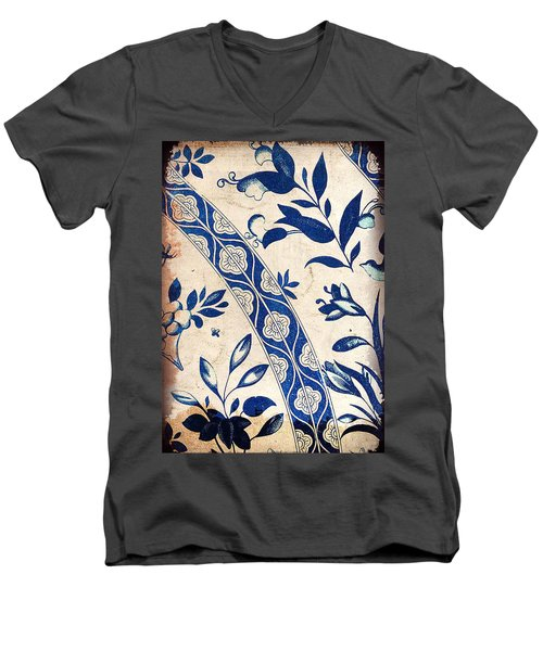 Blue Oriental Vintage Tile 04 Men's V-Neck T-Shirt