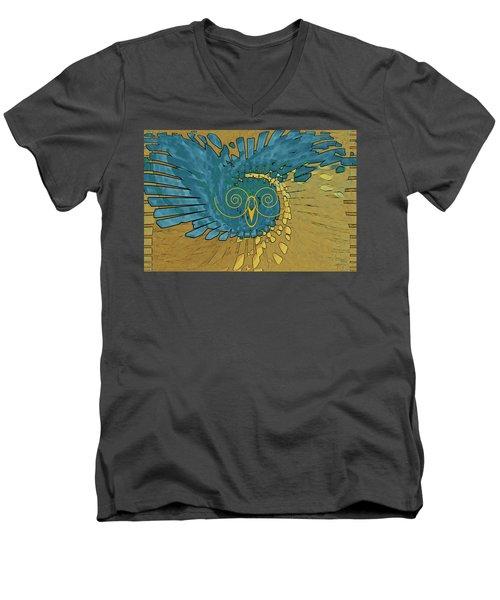 Men's V-Neck T-Shirt featuring the digital art Abstract Blue Owl by Ben and Raisa Gertsberg