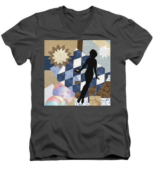 Blue Paper Doll Men's V-Neck T-Shirt