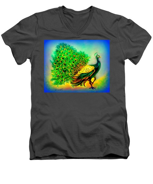Blue Peacock Men's V-Neck T-Shirt by Yolanda Rodriguez