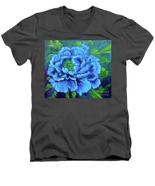 Blue Peony Jenny Lee Discount Men's V-Neck T-Shirt