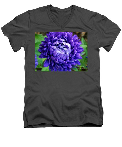 Men's V-Neck T-Shirt featuring the photograph Blue Petals by Gena Weiser