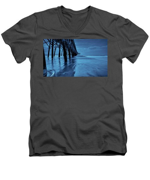 Men's V-Neck T-Shirt featuring the photograph Blue Pier by RC Pics