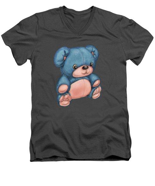 Blue Pink Bear Men's V-Neck T-Shirt by Andy Catling