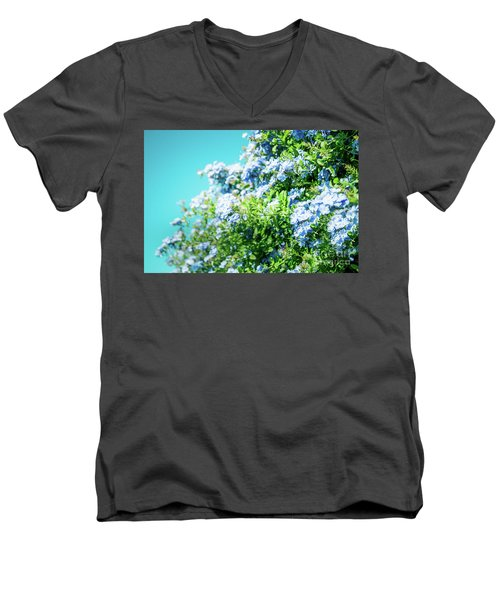 Blue Plumbago Maui Hawaii Men's V-Neck T-Shirt by Sharon Mau