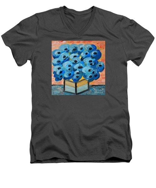Blue Poppies In Square Vase  Men's V-Neck T-Shirt