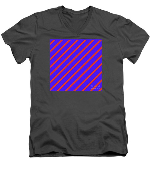 Blue Red Angled Stripes Abstract Men's V-Neck T-Shirt