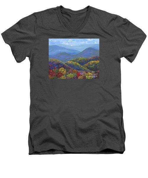 Blue Ridge Colors Men's V-Neck T-Shirt by Anne Marie Brown
