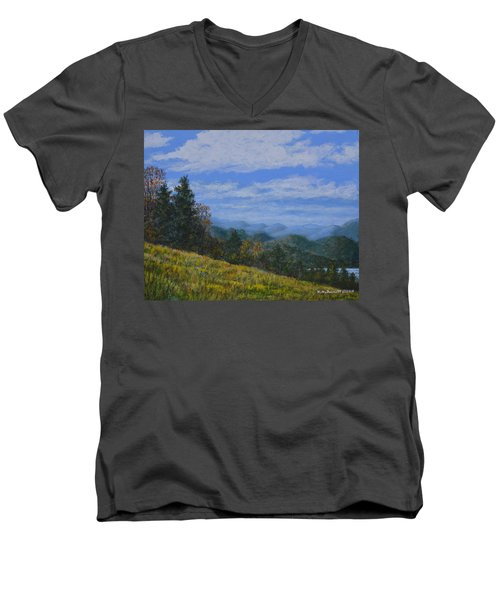 Men's V-Neck T-Shirt featuring the painting Blue Ridge Impression by Kathleen McDermott