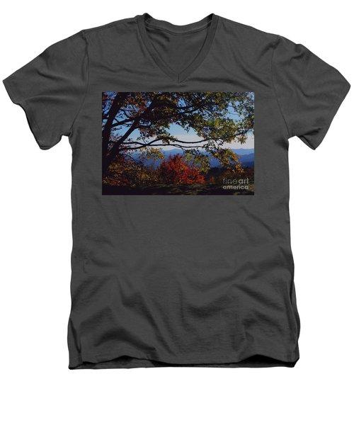 Men's V-Neck T-Shirt featuring the photograph Blue Ridge Mountain View by Debra Crank