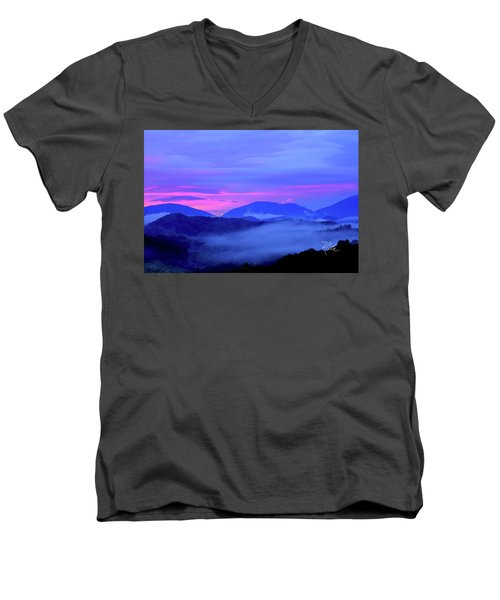 Blue Ridge Mountains Sunset Men's V-Neck T-Shirt